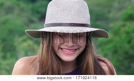 Tearful Teen Girl Crying Wearing a Hat