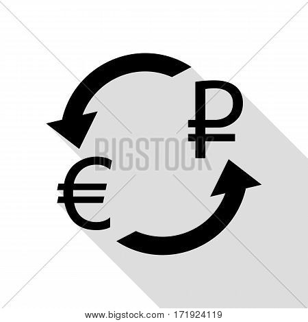 Currency exchange sign. Euro and Russia Rouble. Black icon with flat style shadow path.