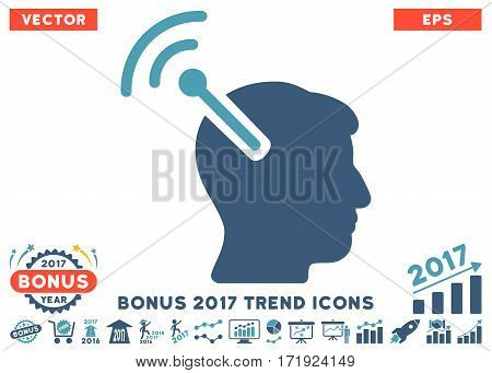 Cyan And Blue Radio Neural Interface pictogram with bonus 2017 year trend icon set. Vector illustration style is flat iconic bicolor symbols white background.