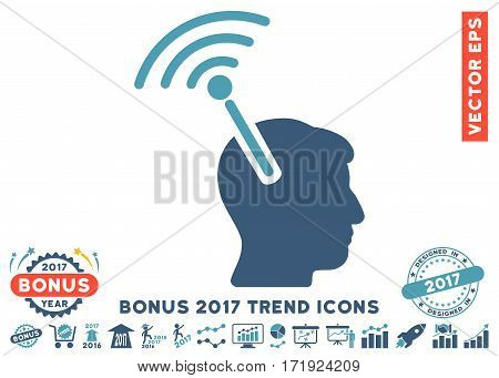 Cyan And Blue Radio Neural Interface pictogram with bonus 2017 trend pictures. Vector illustration style is flat iconic bicolor symbols white background.