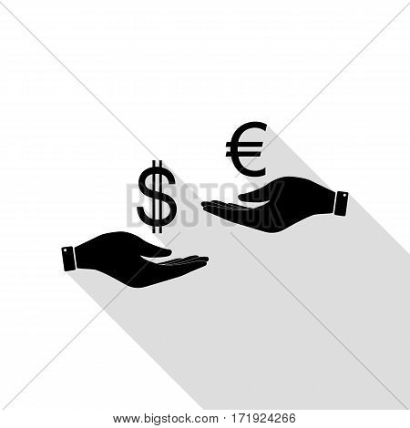 Currency exchange from hand to hand. Dollar adn Euro. Black icon with flat style shadow path.