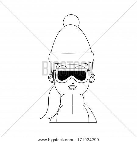 girl with winter sport equipment over white background. vector illustration
