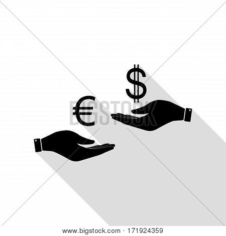 Currency exchange from hand to hand. Euro and Dollar. Black icon with flat style shadow path.