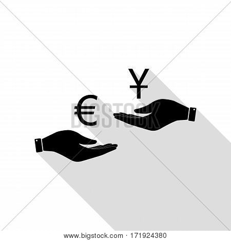 Currency exchange from hand to hand. Euro and Yuan. Black icon with flat style shadow path.