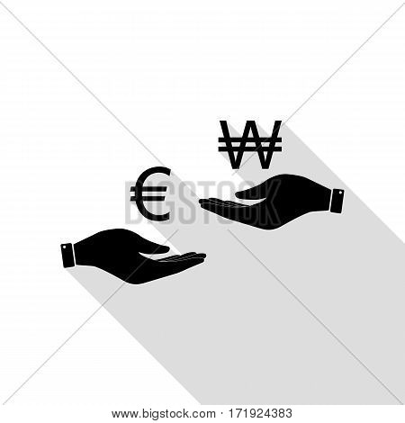 Currency exchange from hand to hand. Euro and Won. Black icon with flat style shadow path.