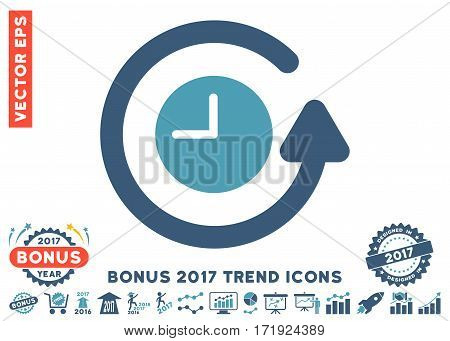 Cyan And Blue Restore Clock pictogram with bonus 2017 trend icon set. Vector illustration style is flat iconic bicolor symbols white background.