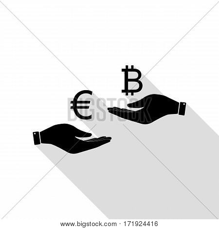 Currency exchange from hand to hand. Euro an Bitcoin. Black icon with flat style shadow path.