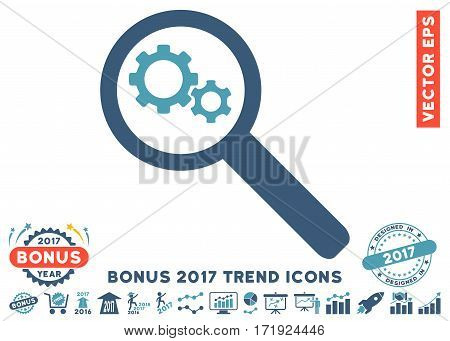 Cyan And Blue Search Gears Tool icon with bonus 2017 year trend images. Vector illustration style is flat iconic bicolor symbols white background.