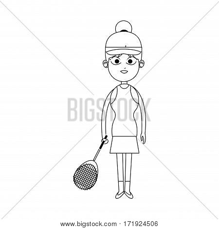 girl with tennis sport equipment over white background. vector illustration