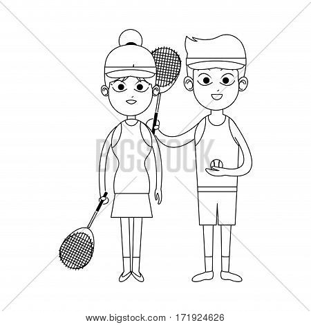 happy couple ready to practice tennis sport over white background. vector illustration