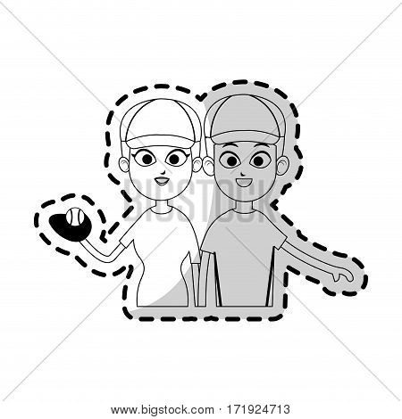 happy couple ready to practice baseball sport over white background. vector illustration