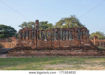 Asian Religious Architecture. Ancient Buddhist Pagoda Ruins, Thailand Travel Landscape And Destinati