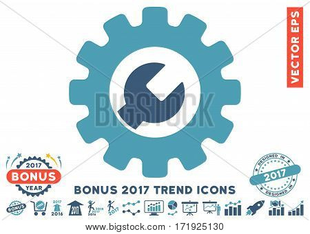 Cyan And Blue Service Tools pictograph with bonus 2017 trend pictograph collection. Vector illustration style is flat iconic bicolor symbols white background.