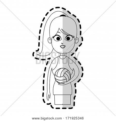 girl with volleyball sport equipment over white background. vector illustration