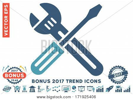 Cyan And Blue Spanner And Screwdriver icon with bonus 2017 year trend icon set. Vector illustration style is flat iconic bicolor symbols white background.