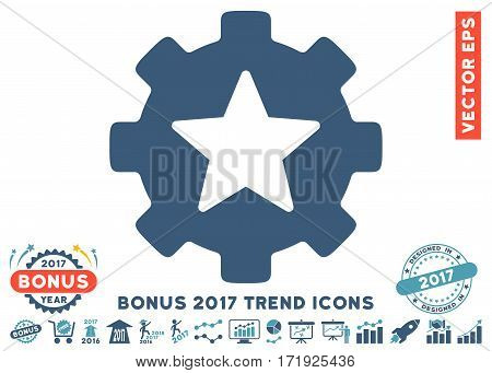 Cyan And Blue Star Favorites Options Gear pictogram with bonus 2017 year trend pictograms. Vector illustration style is flat iconic bicolor symbols white background.