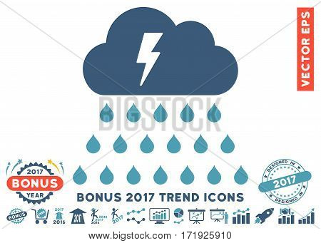 Cyan And Blue Thunderstorm Rain Cloud pictograph with bonus 2017 trend icon set. Vector illustration style is flat iconic bicolor symbols white background.