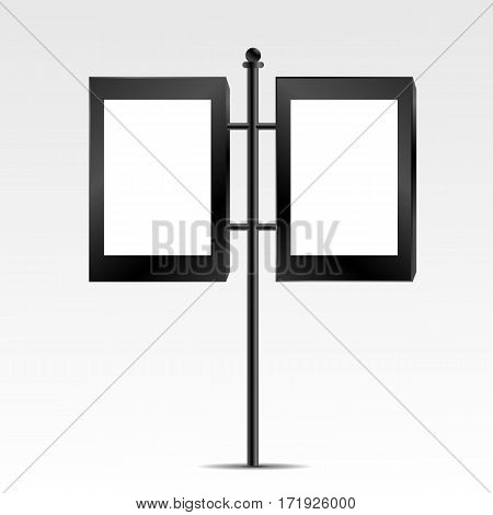 Two Black Mock Up Empty Bilboard Vector Illustration Eps 10