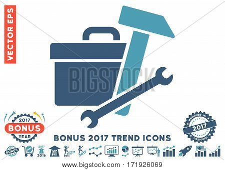 Cyan And Blue Toolbox pictogram with bonus 2017 trend icon set. Vector illustration style is flat iconic bicolor symbols white background.
