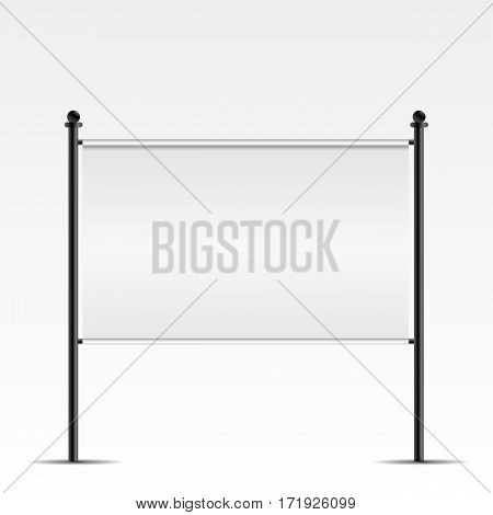 White Advertising Banner With Metal Construction Isolated On Background Vector Illustration Eps 10