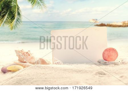 Vintage summer beach background with sand shells and empty paper for your message design. Concept of summertime relax on beach.
