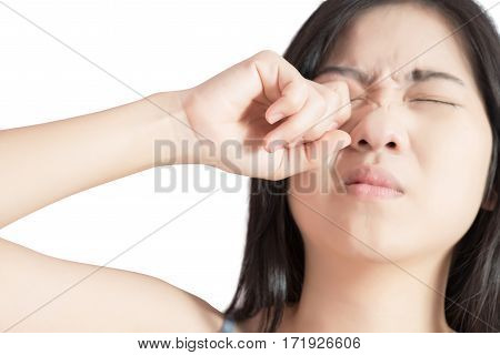 Eyes Pain And Eyes Strain In A Woman Isolated On White Background. Clipping Path On White Background