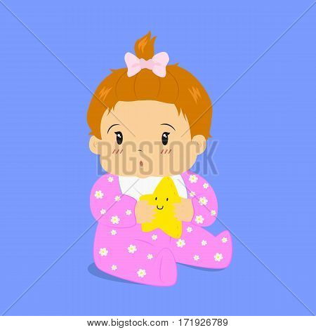 cute baby girl wearing flower pattern jumpsuit, sitting and holding a star plus toy