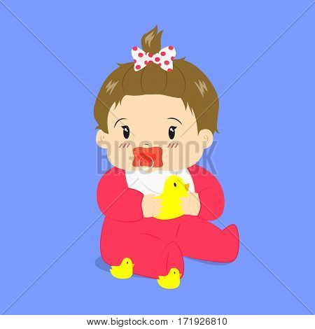 cute baby girl sitting with a pacifier in her mouth, wearing polka dot ribbon and holding a rubber duck