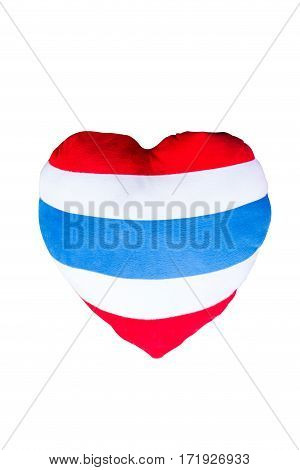 The heart shaped pillow striped flag thai isolated on white background