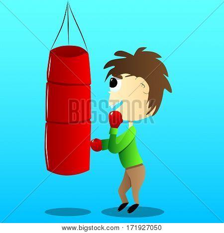 Vector illustrated cartoon cute boxing kid hitting a sandbag.