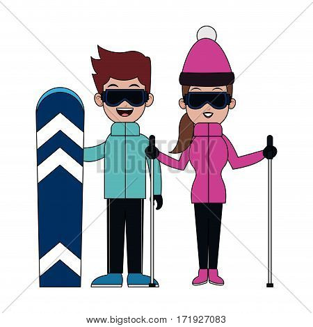 happy couple ready to practice winter sport over white background. colorful desing. vector illustration