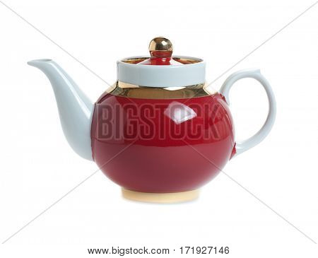 red teapot isolated on white background