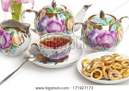 tea set isolated on white background