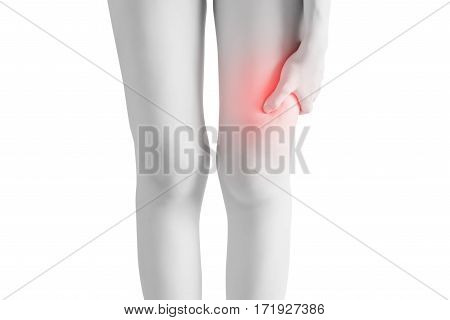 Acute Pain In A Woman Thigh Isolated On White Background. Clipping Path On White Background.