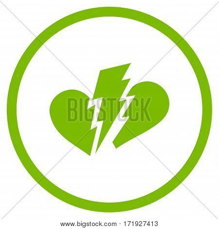 Broken Heart rounded icon. Vector illustration style is flat iconic symbol inside circle eco green color white background.