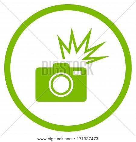 Camera Flash rounded icon. Vector illustration style is flat iconic symbol inside circle eco green color white background.