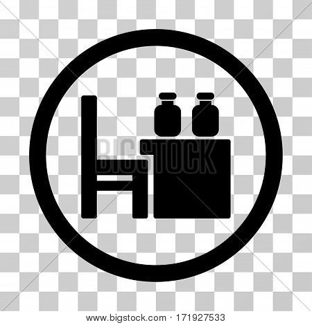 Apothecary Table vector pictograph. Illustration style is a flat iconic black symbol on a transparent background.