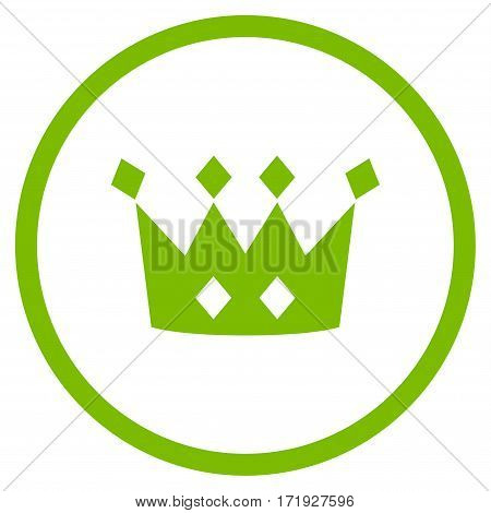 Crown rounded icon. Vector illustration style is flat iconic symbol inside circle eco green color white background.