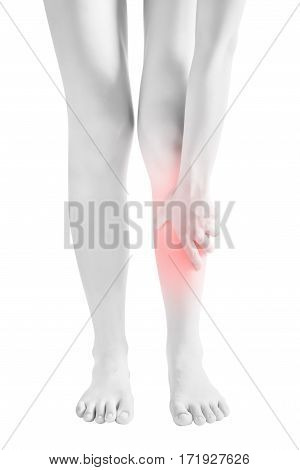 Acute Pain In A Woman Shin Isolated On White Background. Clipping Path On White Background.