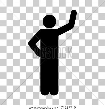 Assurance Pose vector pictogram. Illustration style is a flat iconic black symbol on a transparent background.