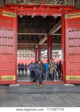 Beijing, China - Oct 30, 2016: Royal gateway at the Hall of Supreme Harmony (Taihedian), Forbidden City (Gu Gong, Palace Museum).
