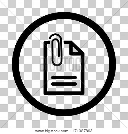 Attach Document vector icon. Illustration style is a flat iconic black symbol on a transparent background.