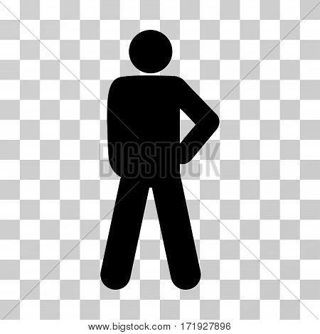 Audacity Pose vector pictogram. Illustration style is a flat iconic black symbol on a transparent background.