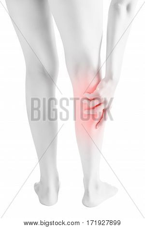 Acute Pain In A Woman  Calf Leg Isolated On White Background. Clipping Path On White Background