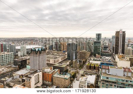 Vancouver Canada - January 28 2017: Vancouver city as seen from Vancouver Lookout with sports stadium and highrise buildings