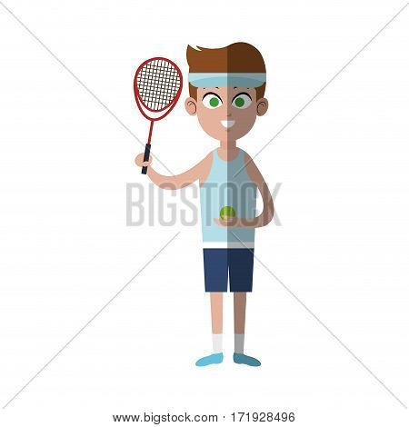 boy with tennis sport equipment over white background. colorful design. vector illustration