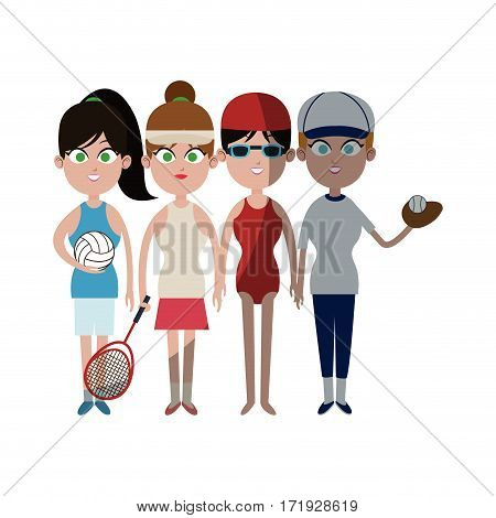 people ready to practice sports over white background. colorful design. vector illustration