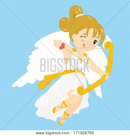 illustration of a cute flying cupid aiming love arrow