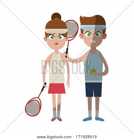 happy couple ready to practice tennis sport over white background. colorful desing. vector illustration