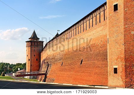 Ancient massive wall and wall tower of Kremlin in Kolomna Moscow region